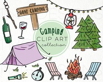 Camping clipart camping holiday. Doodles etsy hand drawn