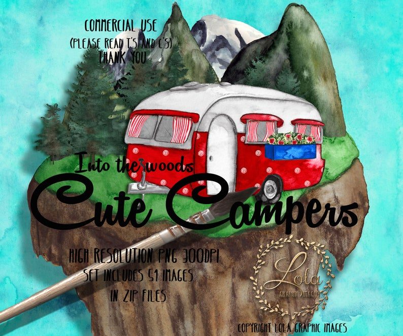 Cute campers vacation graphic. Camping clipart camping holiday