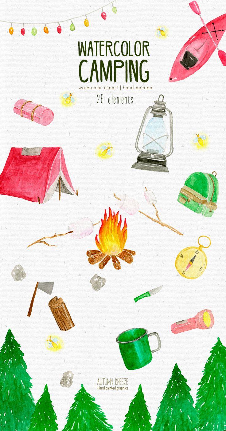 Camping clipart camping holiday. Watercolor clip art summer