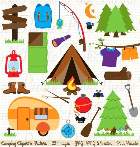 Camping clipart camping theme. Clip art invitation or