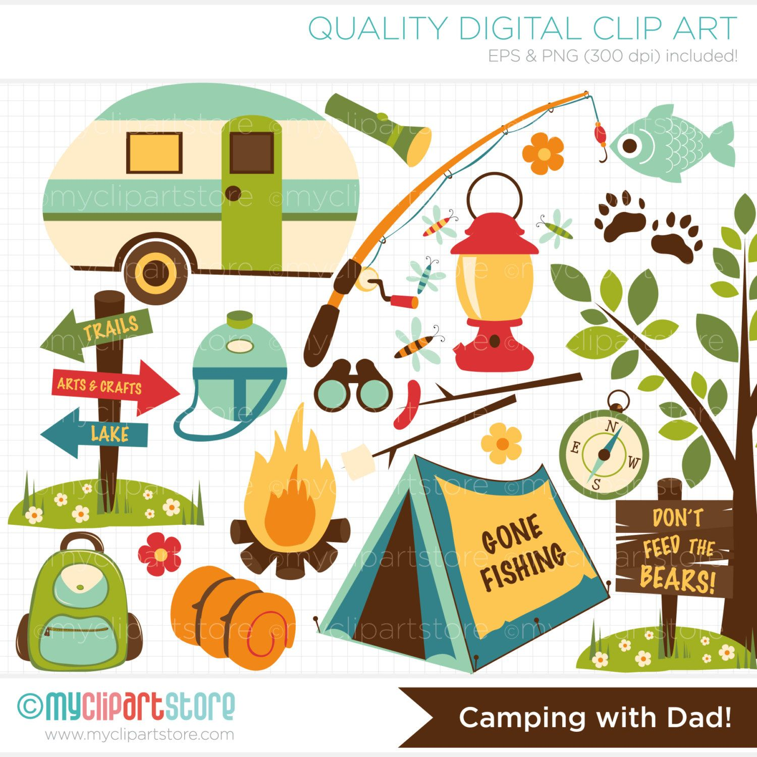 Camping clipart camping theme. With dad fishing father