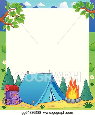 Camping clipart camping theme. Vector art frame drawing
