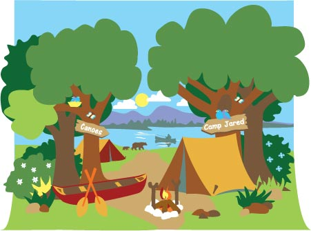Campsite mural paint by. Camping clipart children's