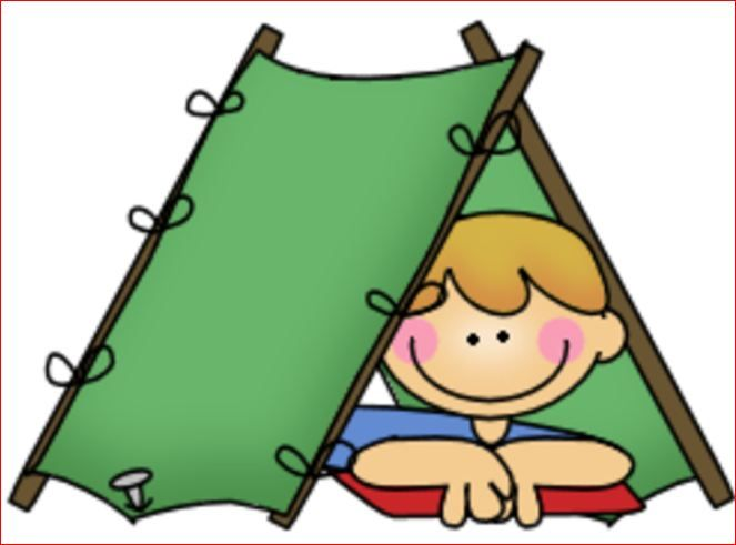 Camp for kids panda. Campfire clipart family