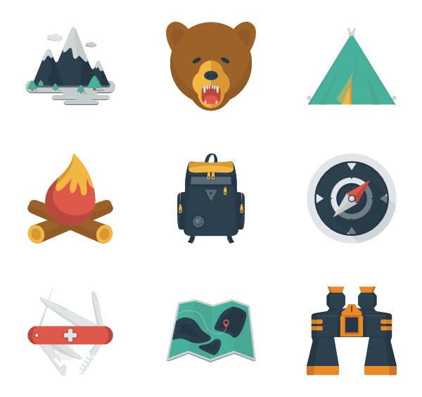 Camping clipart icon.  packs vector svg