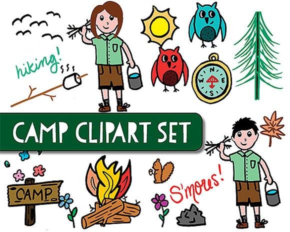 Camping clipart nature camp. Graphics creative market