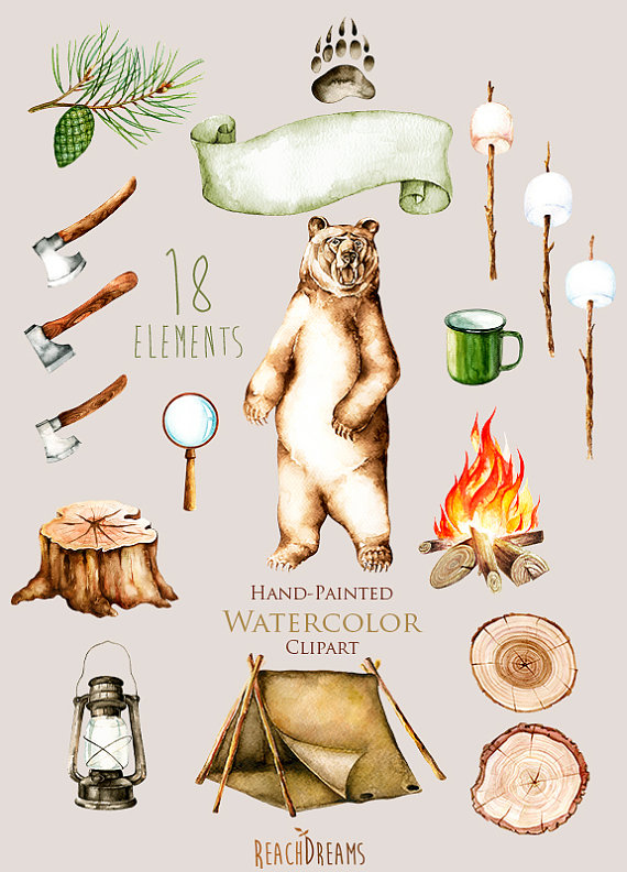 Watercolor forest marshmallow bonfire. Camping clipart nature camp