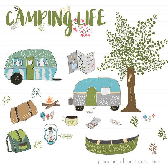 Illustration digital print rv. Camping clipart nature camp