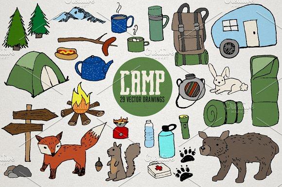 Vector illustrations creative market. Camping clipart nature camp