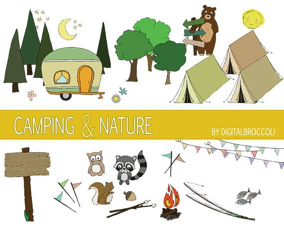 Camping clipart nature camp. Set summer by digitalbroccoli