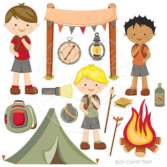 Boy trip cute digital. Camping clipart nature camp
