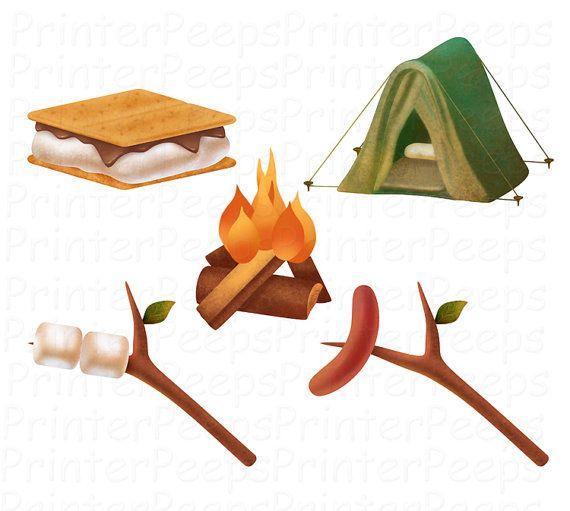 Camping scrapbook pack digital. Campfire clipart hotdog