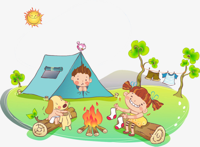 Cartoon kids camping plans. Camp clipart spring