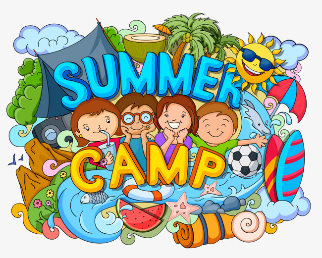 Camp clipart childrens. Four children summer graffiti