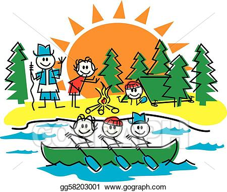 Boats clipart stick figure. Vector art family camping