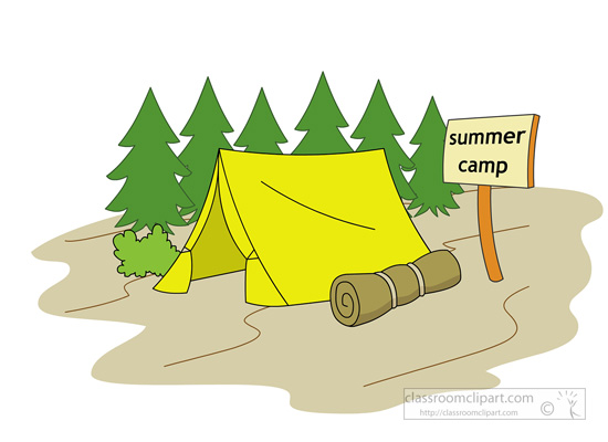 Summer tent sleeping bag. Camp clipart