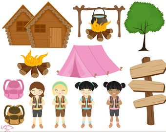 Girl camping clip art. Camper clipart girly