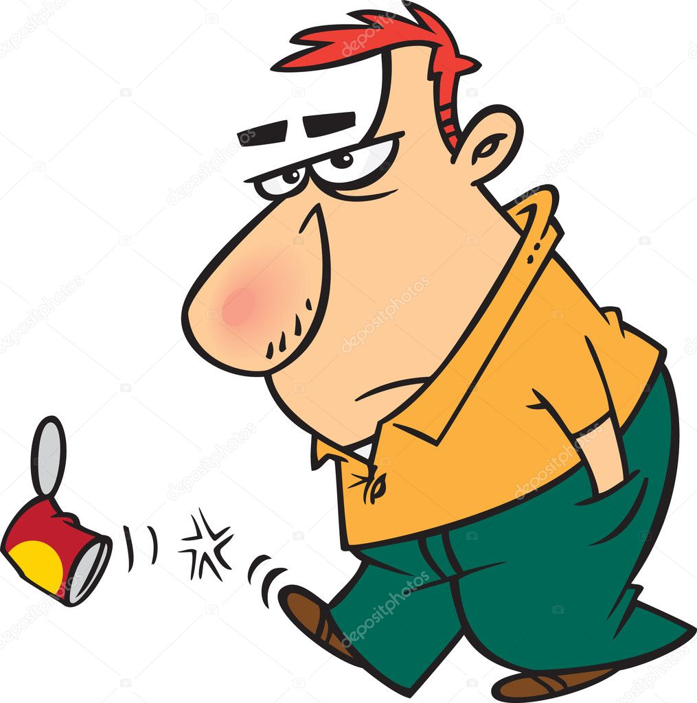 Can clipart cartoon. Surly man kicking a