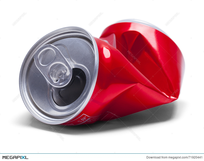 Red soda stock photo. Can clipart crushed