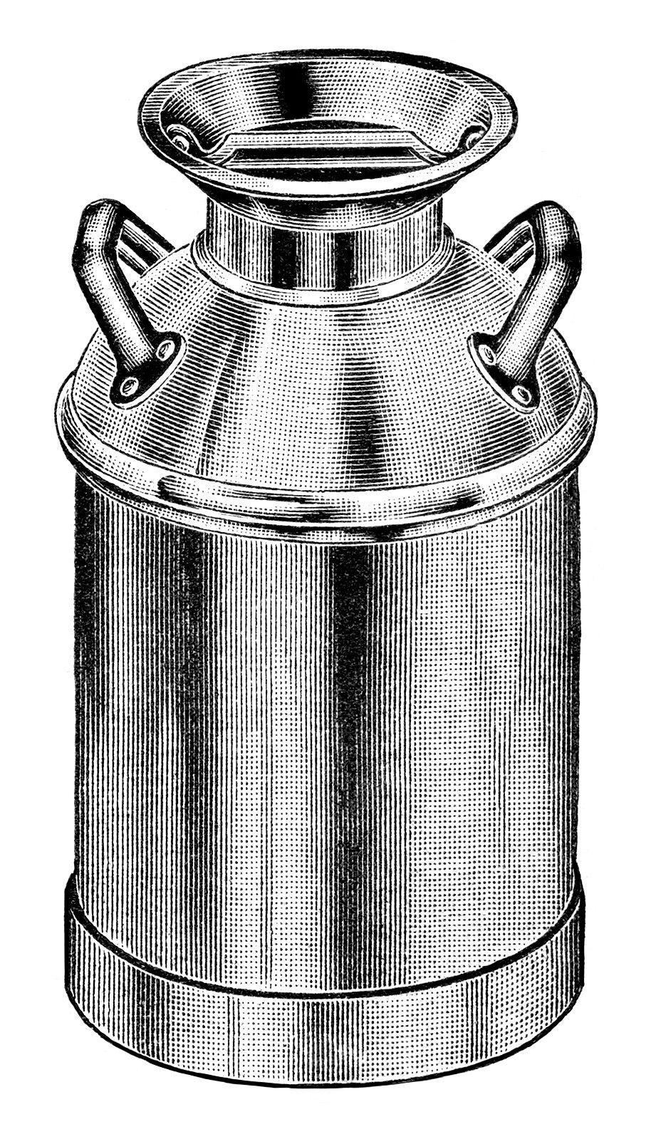 Can clipart illustration. Vintage milk clip art