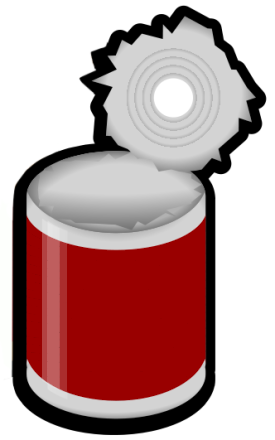 Can clipart png. Open red label household