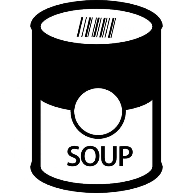 Can clipart soup. Black and white letters