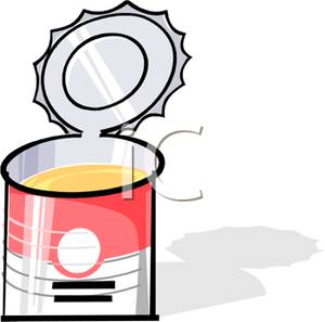Can clipart soup. An open of