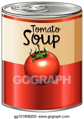 Vector stock in aluminum. Can clipart tomato soup