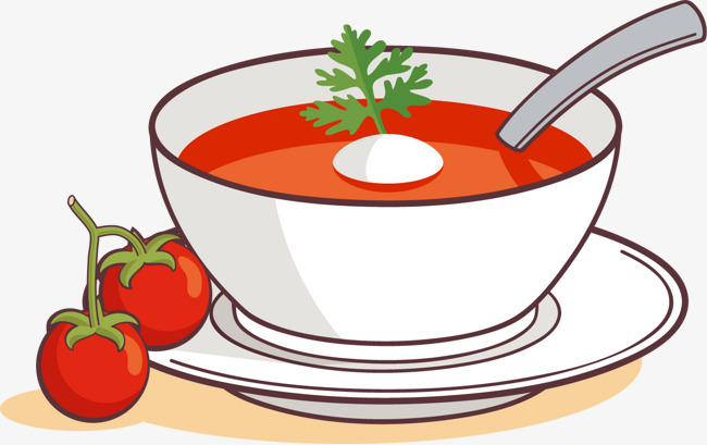 Vector painted and egg. Can clipart tomato soup