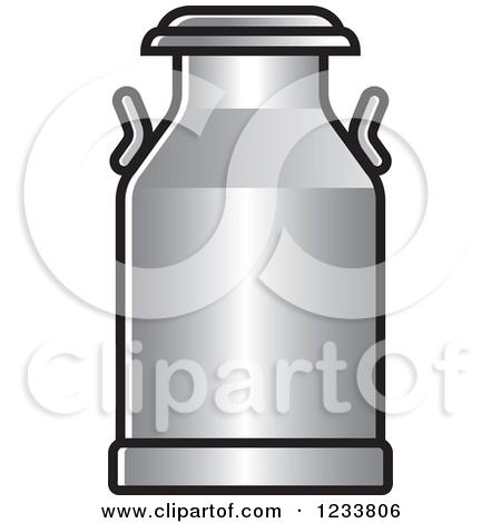 Milk barrel clipground silver. Can clipart vector