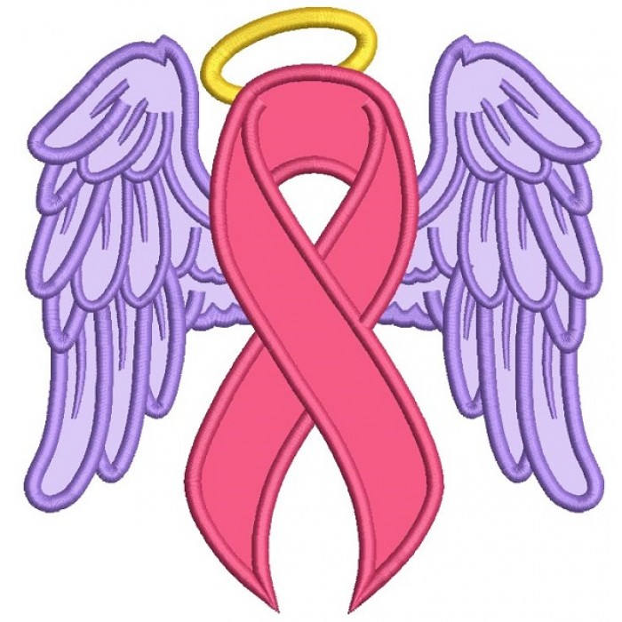 Angel Wings Breast Cancer Awareness Ribbon Applique Machine