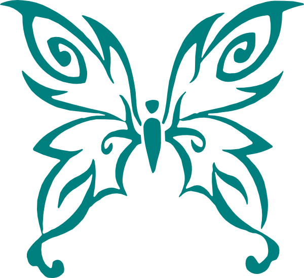 Teal clip art at. Cancer clipart butterfly