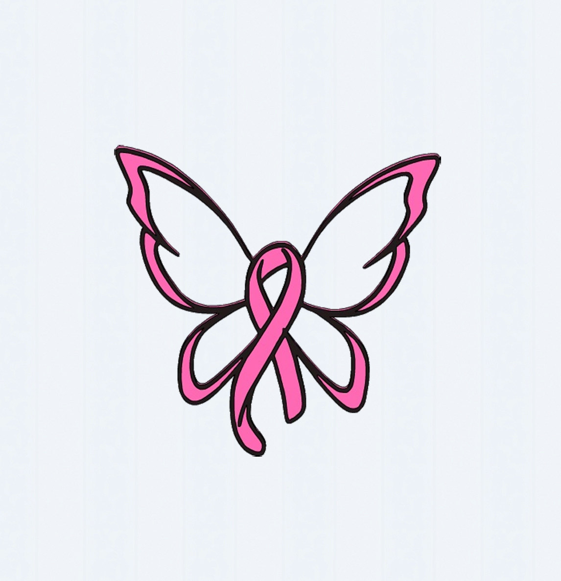 Cancer Ribbon Butterfly Tattoo