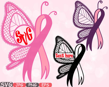 Autism clipart pink. Breast cancer butterfly frame