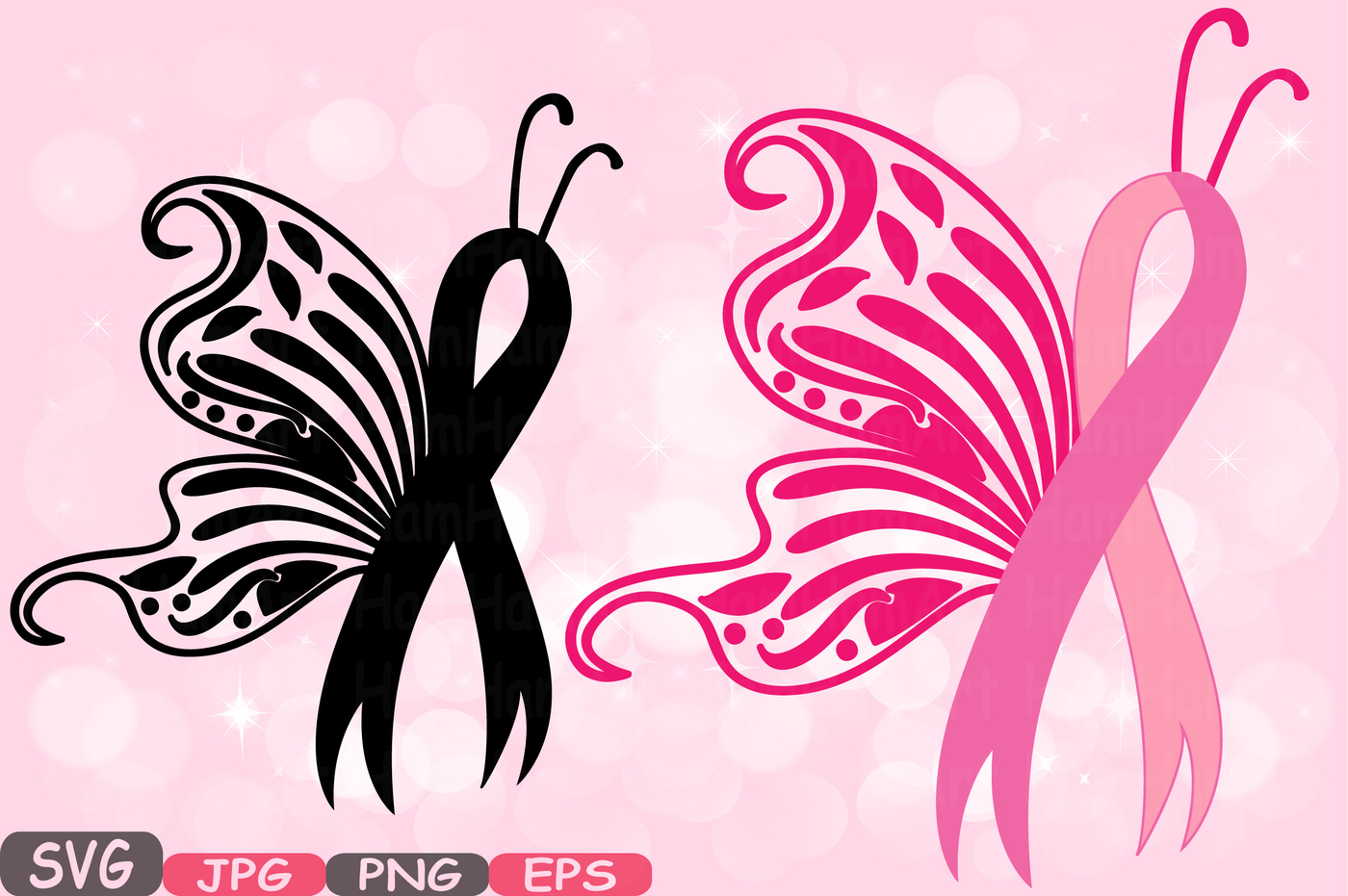 Breast svg cricut silhouette. Cancer clipart butterfly