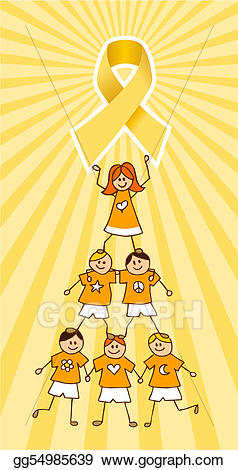 Vector stock childhood ribbon. Cancer clipart cancer kid