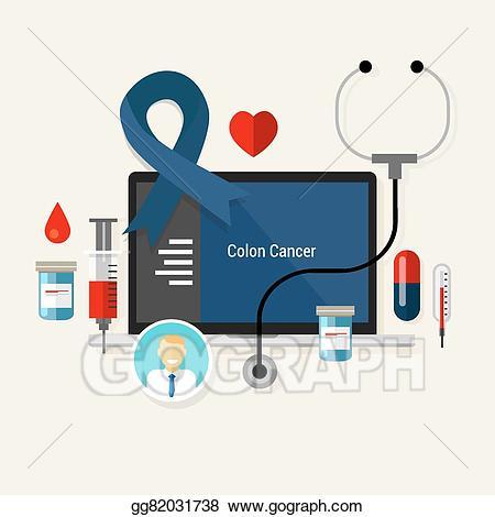 Vector art colon cancer. Medicine clipart medical condition