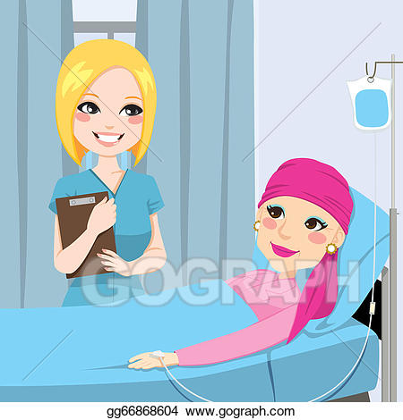 Vector art nurse visit. Cancer clipart chemotherapy