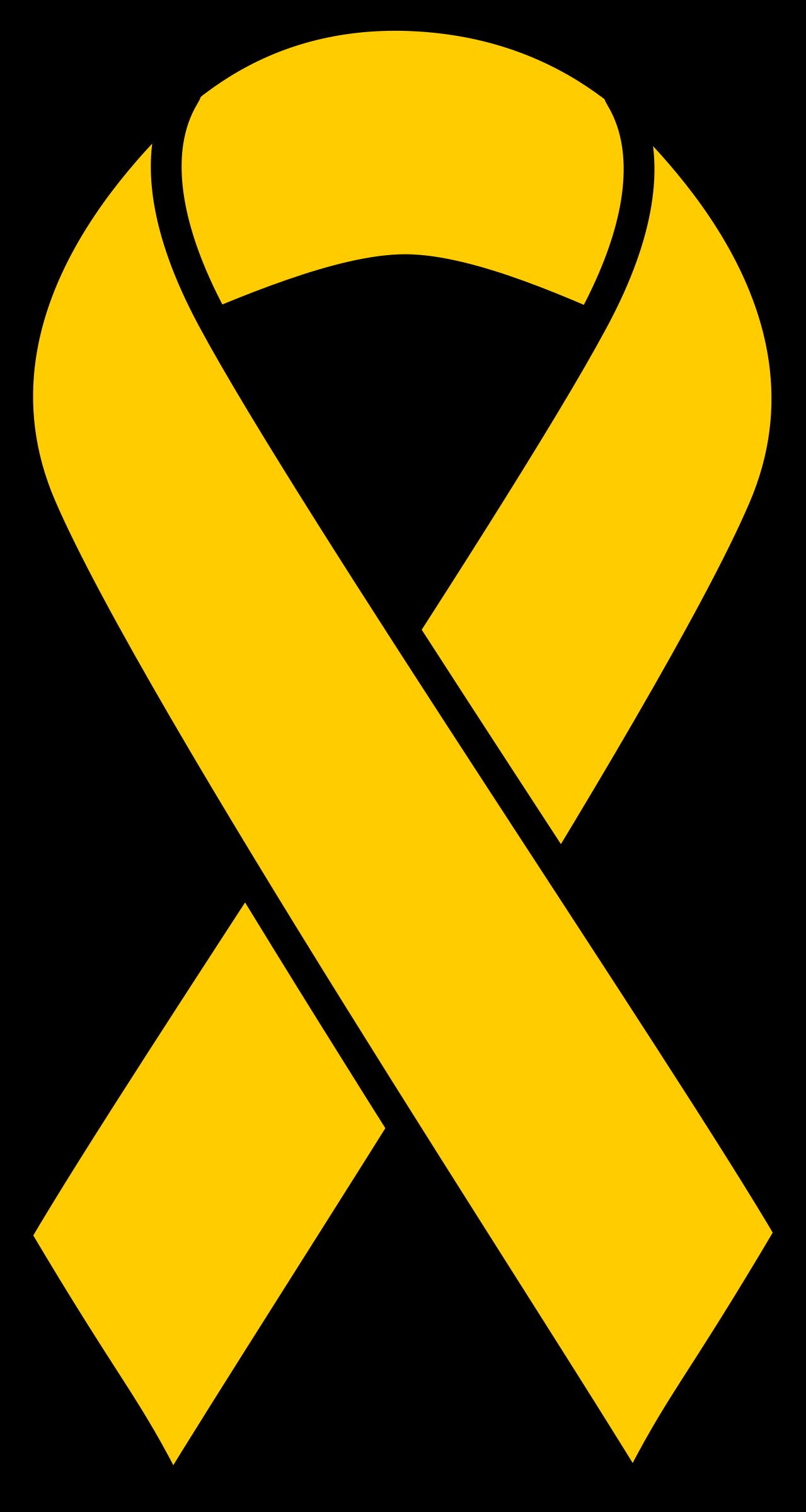 Gold childhood ribbon big. Cancer clipart child cancer