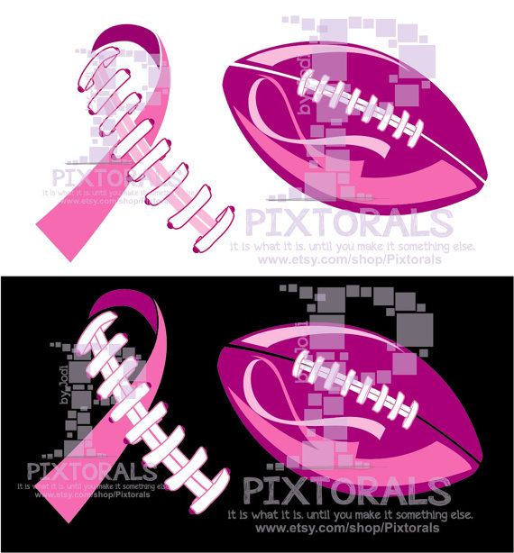 Breast Cancer Ribbon in Football Laces Breast Cancer