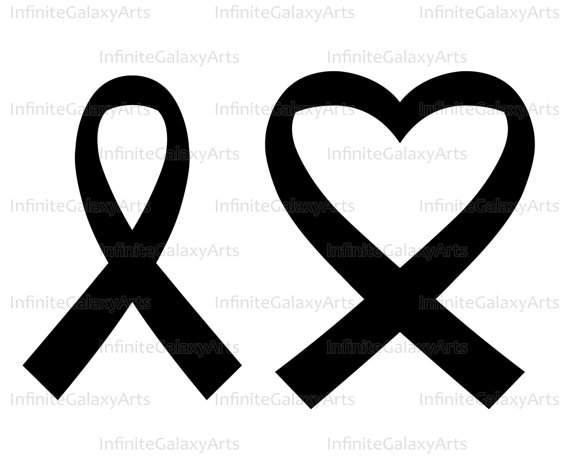 Cancer clipart heart. Ribbon digital cutting files