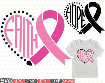 Cancer clipart heart. Breast ribbon silhouette faith