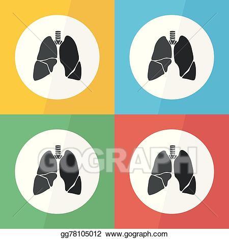 Vector art lung icon. Cancer clipart respiratory disease