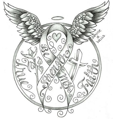 best simple ribbon. Cancer clipart sketch