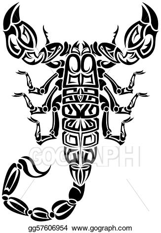 Cancer clipart sketch. Vector art scorpion tribal