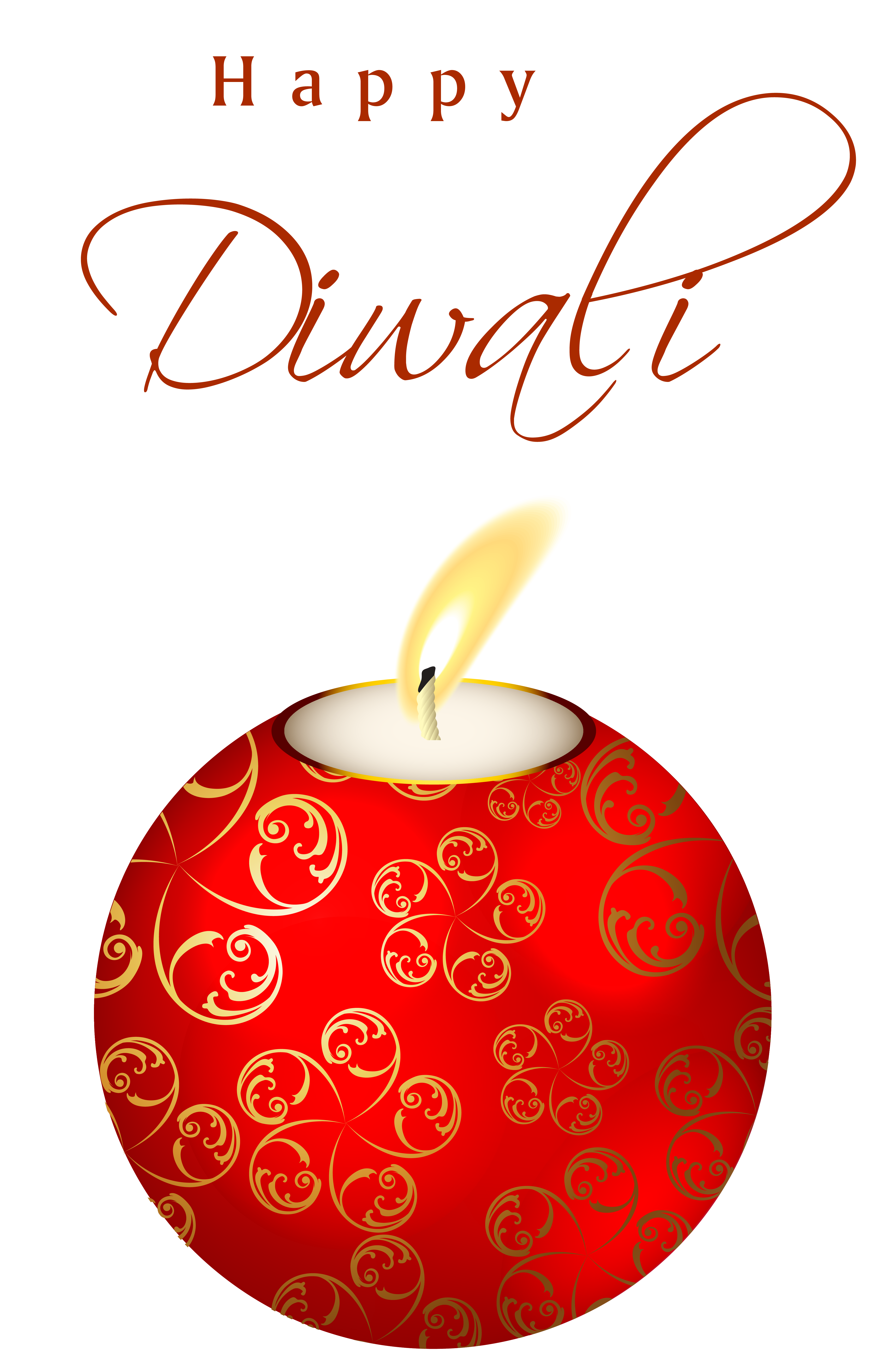 Beautiful red happy candle. Green clipart diwali