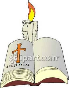 Candles clipart bible. An open and a