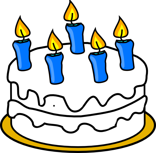 With blue lit clip. Candles clipart birthday cake