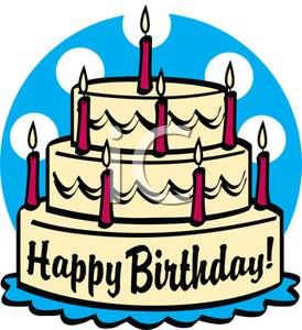 A three tiered with. Candles clipart birthday cake