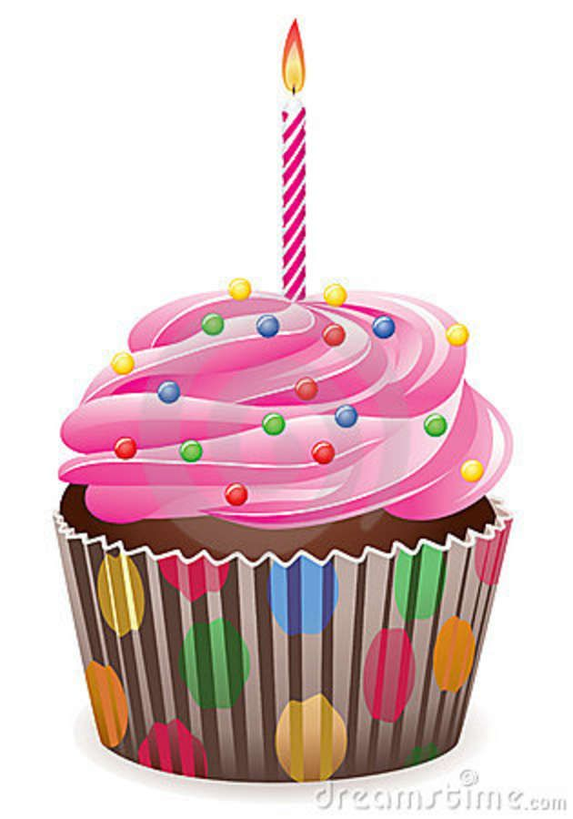 Candle clipart birthday cupcake. With burning royalty free